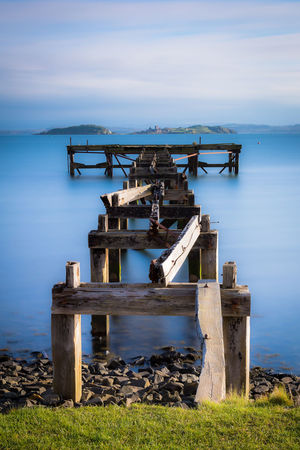 Wooden pier in Aberdour Aberdour Day Island Landscape Long Exposure Pink Color Scotland Sea Sky Slow Shutter Sunset Water Waterfront Wooden Pier Wooden Post