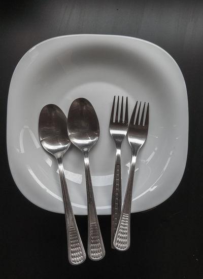 white plate set Arranged Arrangement Fork Man Made Object Medium Group Of Objects Plate Still Life Studio Shot