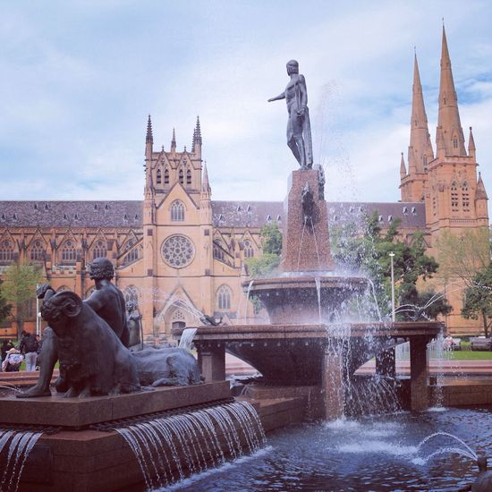 Fresh On Eyeem  Statue Fountain Water Sculpture Architecture Outdoors Travel Destinations Cloud - Sky Building Exterior Church Sydney