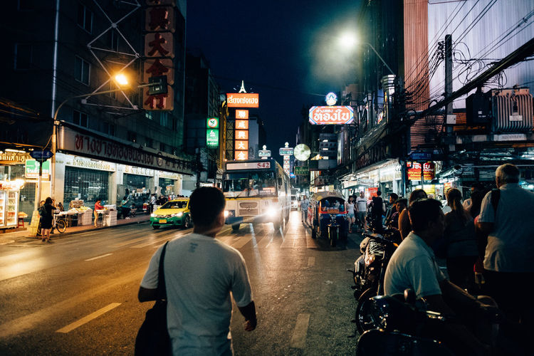 Chinatown Bangkok Architecture Building Exterior Built Structure City City Life Crowd Illuminated Large Group Of People Men Night Outdoors People Real People Sky Transportation Travel Destinations
