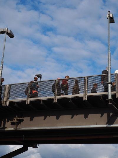 Bridge Cloud - Sky Communting Day Low Angle View Outdoors People Sky Sky Bridge Walking