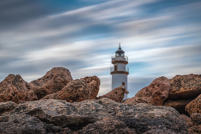 Lighthouse Ses Salines, Mallorca, Spain Leuchtturm Mallorca SPAIN Ses Salines Architecure Balearic Islands Langzeitbelichtung Long Exposure Spring EyeEmNewHere My Best Travel Photo