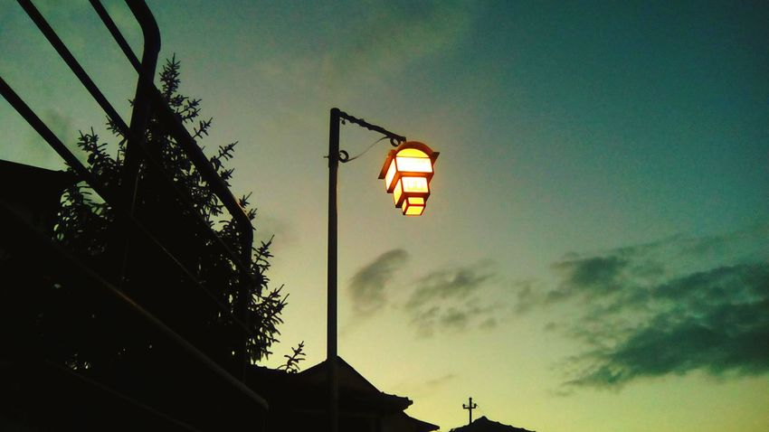Hanging Out Check This Out Taking Photos Relaxing Hi! Enjoying Life Twilight Twilight Sky Lightbulb Dark Darkness And Light Light Sky Life Hello World Glow Glowinthedark Old House Ohrid Macedonia Landscape Nature_collection Nature Tree Silhouette Fence Clouds