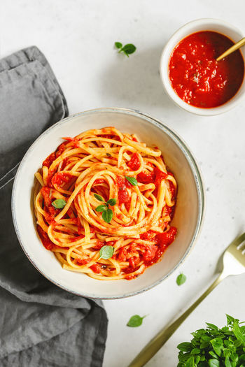 Food And Drink Food Italian Food Ready-to-eat Bowl Pasta Freshness Table Indoors  Wellbeing Healthy Eating Spaghetti Still Life High Angle View Vegetable Directly Above Condiment Serving Size Tomato Sauce Sauce Herb No People Garnish Temptation Savory Sauce The Foodie - 2019 EyeEm Awards