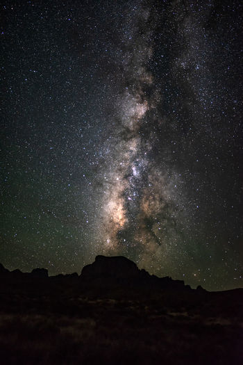 Scenic view of silhouette mountain against star field at night in big bend national park - texas