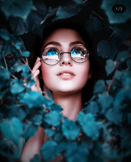 Black Background Human Eye Portrait Eyeglasses  Beautiful Woman Eyesight Human Face Looking At Camera Headshot Young Women