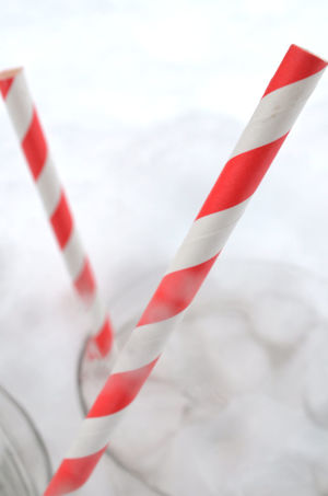 red striped drinking straws in glasses of ice water in ice and snow Close Up Drink Close Up Food Close-up Day Drinking Straw Ice Water No People Outdoors Stripes Pattern Water Glass