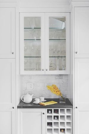 Tea Pot Wine Glass Cabinet Cups Flowers White Kitchen