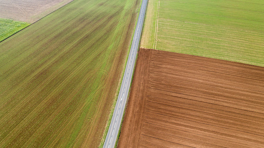 Aerial photography of a road in the middle of the fields, Vendée, France Road Bitumen Vendée France Le Langon Aerial View Aerial Photography Above Landscape Environment Land Rural Scene Agriculture Field Scenics - Nature Plant Day No People Outdoors Grass Patchwork Landscape LINE Sign Car Transportation