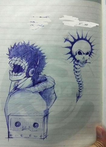 Drawing Killing Time Skull