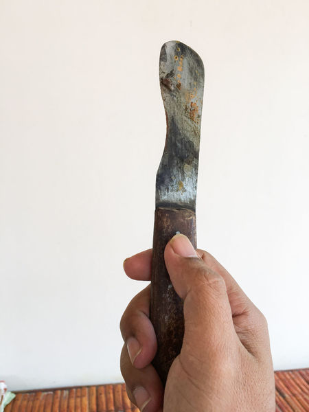 Close-up Cropped Holding Human Finger Knife Lifestyles Part Of Person Personal Perspective Unrecognizable Person Old Knife