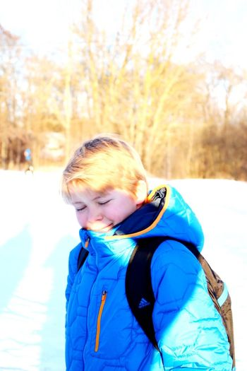 My Son 12yearsold Walkonice Cold Days Cold Temperature Cold Outside