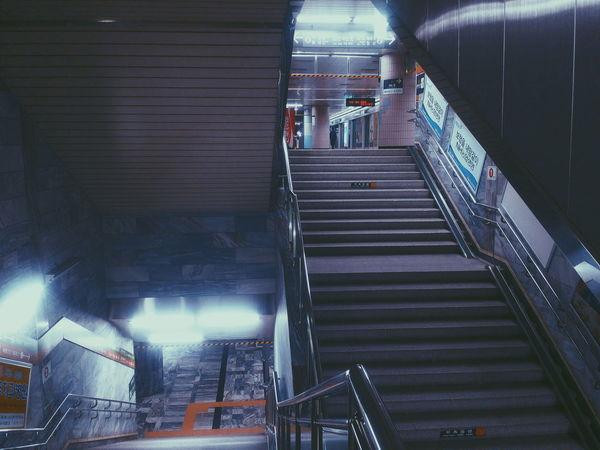 Human Meets Technology Subway Station Subway Steps First_train