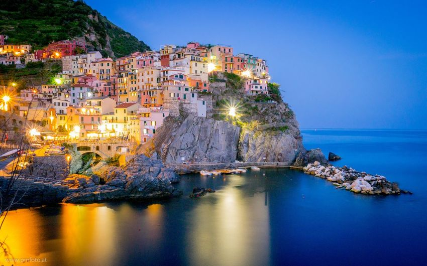 My Year My View Reflection Water Illuminated Manarola Italy My Year My View