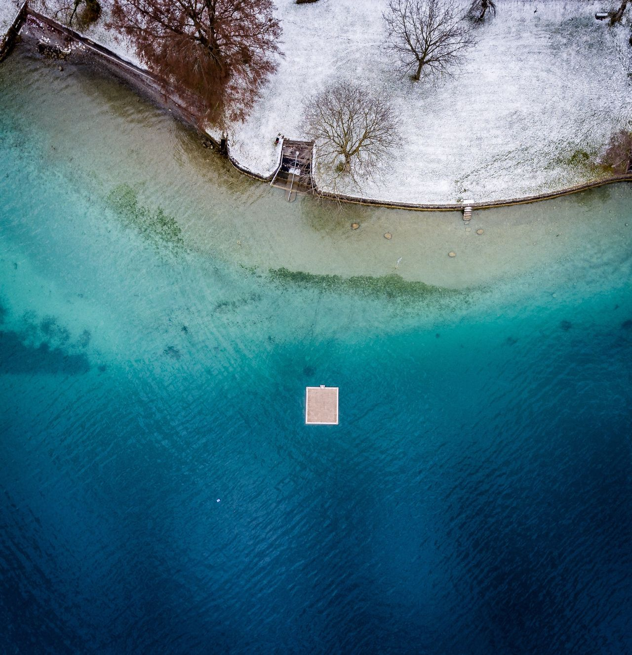 Aerial view of sea during winter