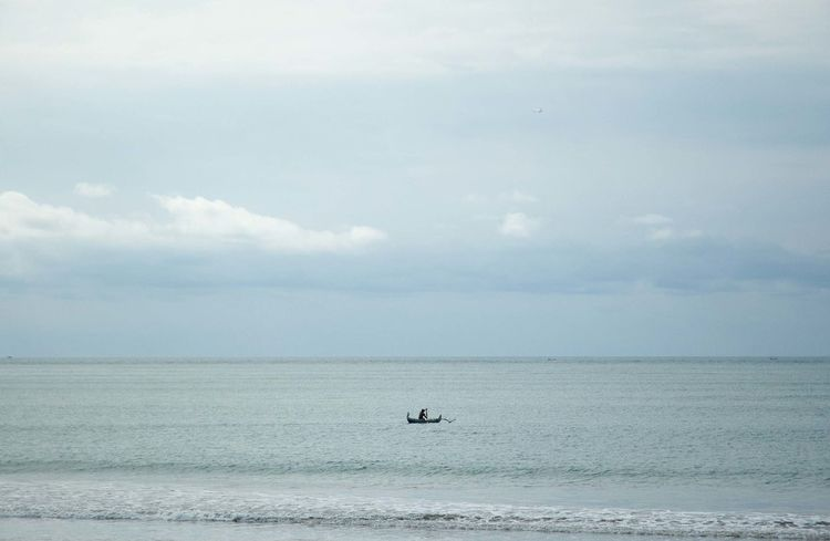 Blue Boredom Calm Cloud Cloud - Sky Cloudy Distant Getting Away From It All Lonliness Outdoors Overcast Sand Scenics Sky Tranquil Scene Tranquility