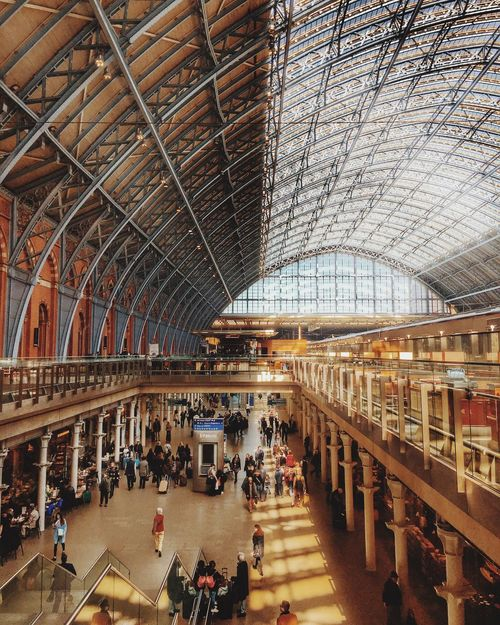 Journey Arched Roof London Railway Train Train Station St Pancras Station Large Group Of People Architecture Indoors  Built Structure Real People Roof People