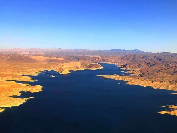 Tranquil Scene Beauty In Nature Tranquility Nature Scenics Copy Space No People Blue Outdoors Water Day Clear Sky Sky Mountain Lake Mead Lake Mead National Recreation Area Lake Mead National Park Lake Mead, Arizona, Lake, Natute, Water, Ocean  Lake Meade
