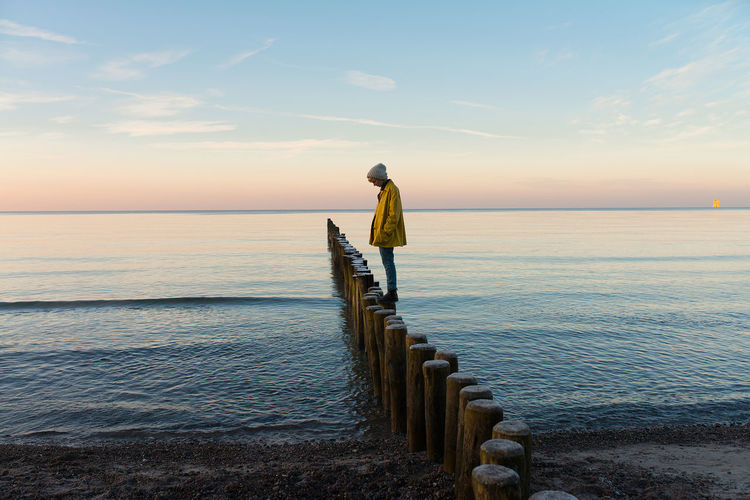 Rear view of person on railing against sea