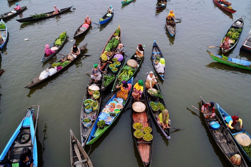 High angle view of boats in lake