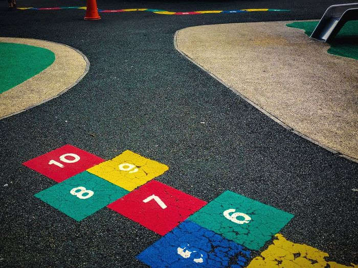 High angle view of hopscotch at playground