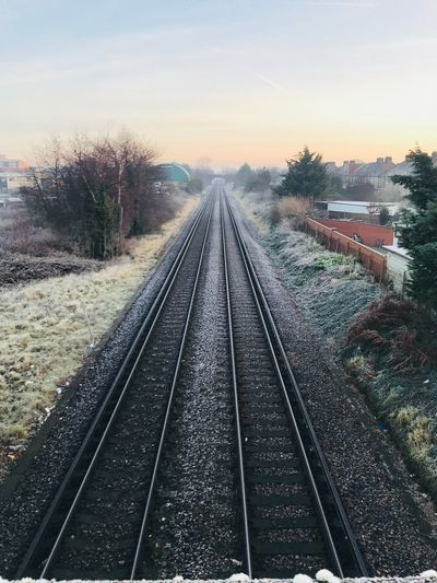 Railway 🚃 Hounslow Day Outdoors Public Transportation Railway Track Straight Railroad Tie No People Diminishing Perspective The Way Forward Transportation Rail Transportation Railroad Track Winter Tadaa Community Theholysin