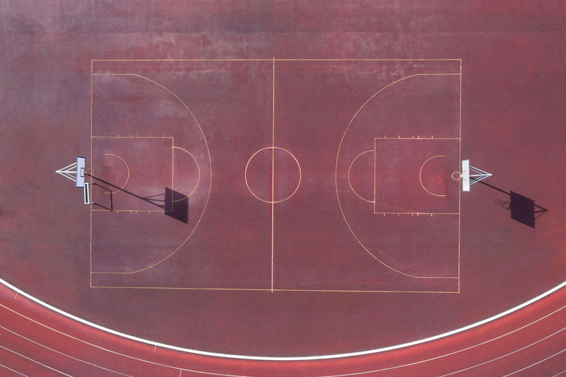Aerial view of empty basketball court