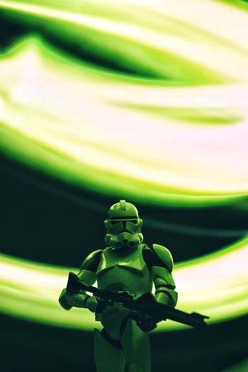 Star Wars Clonetrooper Clone Trooper Star - Space Hobby Toys Scale Model Scale Model Photography Close-up Green Color No People Human Representation Representation Art And Craft Creativity Focus On Foreground Sculpture Statue Craft Illuminated Light Painting