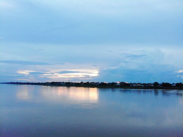Sundown At The Two Sides Of The Mekong Nongkhai Vientiane