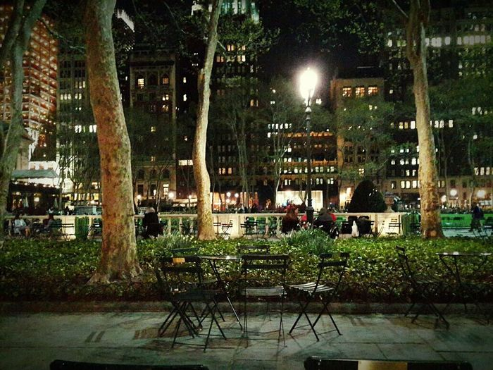 New York, New York New York City Life Park Nightphotography Night Lights Night Photography Night View Trees Light In The Darkness Light And Dark Bryantpark Bryant Park  Bryant Park NYC
