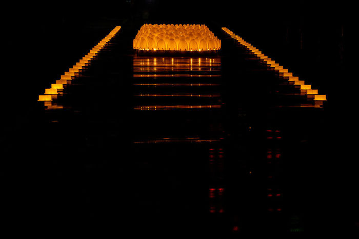 Warm Island Architecture Architecture Built Structure Dark Geometric Shape Geometry Illuminated In A Row Lighting Equipment Night No People Outdoors Reflection Repetition