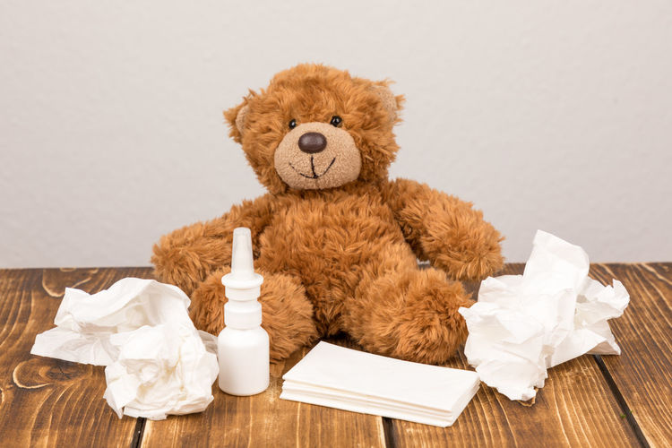 Teddy bear and tissue papers against wall on table