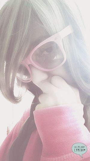 KAWAII Sweet Cute Pink 애교 Bbuingbbuing Aegyo Silver  Glasses Wig