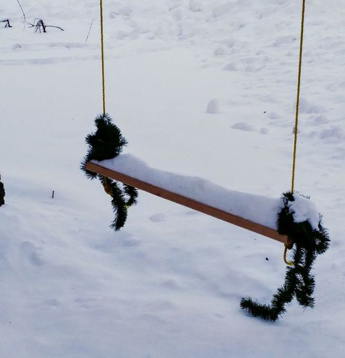 Swing Winter High Angle View Hanging Snow Outdoors Day No People Cold Temperature