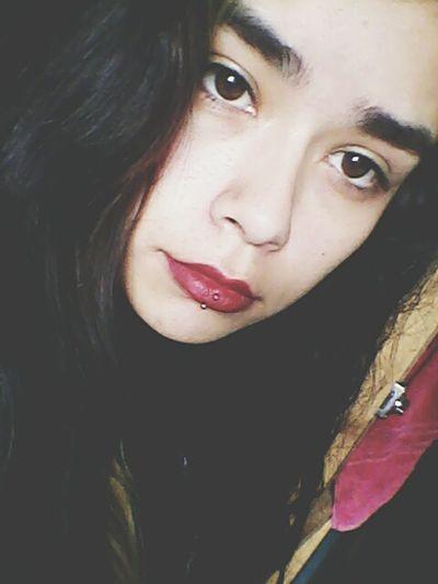 Hi That's Me BlackhairRedlips Dark Red Lips Pale Skin Pale Girl Like Pierced Girl Piercing