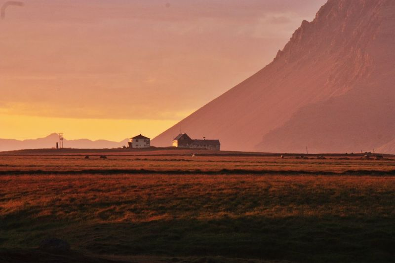 Tranquil farm during sunset