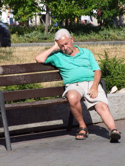 Sleeping Beauty! Budapest Casual Clothes Composition Full Frame Full Length Grass Gray Hair Hungary Napping No Incidental People One Man Only One Person Outdoor Photography Park - Man Made Space Park Bench Sandals Senior Adult Sitting Sleeping Sleeping Beauty Sunlight Tree