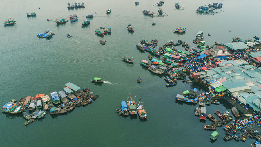 Fish market Market Fishing Boat High Angle View Water Business Ship Transportation Aerial View Sea Day Mode Of Transportation Crowd Nautical Vessel