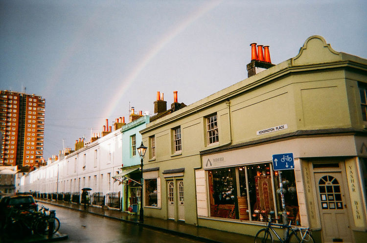 Analogue Photography Architecture Building Exterior Built Structure City Colours Day Film Photography Filmisnotdead No People Outdoors Rainbow Sky