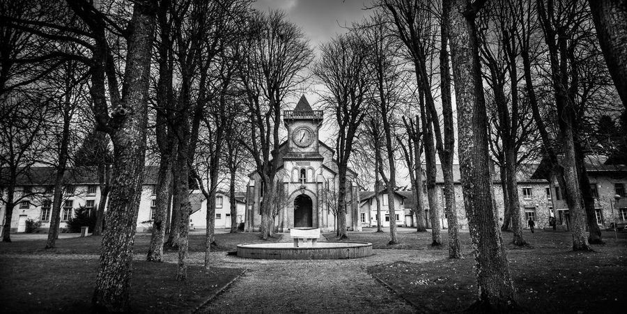 Chapel Nature Architecture Belief Blackandwhite darkness and light Monochrome Myterious No People Place Of Worship Religion School Spirituality The Curch Tree Trees And Sky