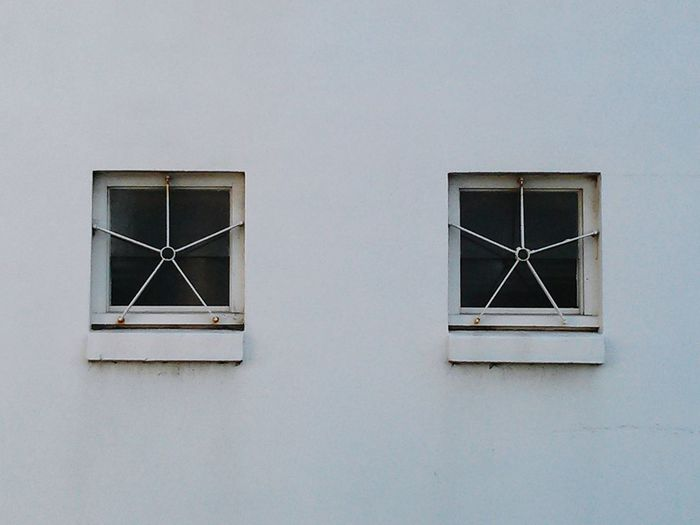 Wall Windows A Pair White Metal Frame Stars No People Architecture