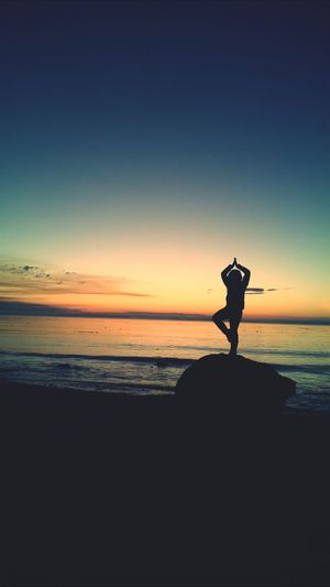 Beautiful Sunset Namaste Sunset Silhouettes Tree Pose