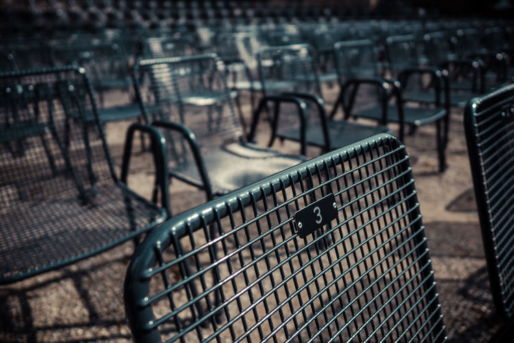 3 3 Chair Chairs Close-up Day Empty Focus On Foreground Metal Chair Metal Chairs Metallic No People Repetition Selective Focus Still Life Tranquil Tranquil Scene Tranquility