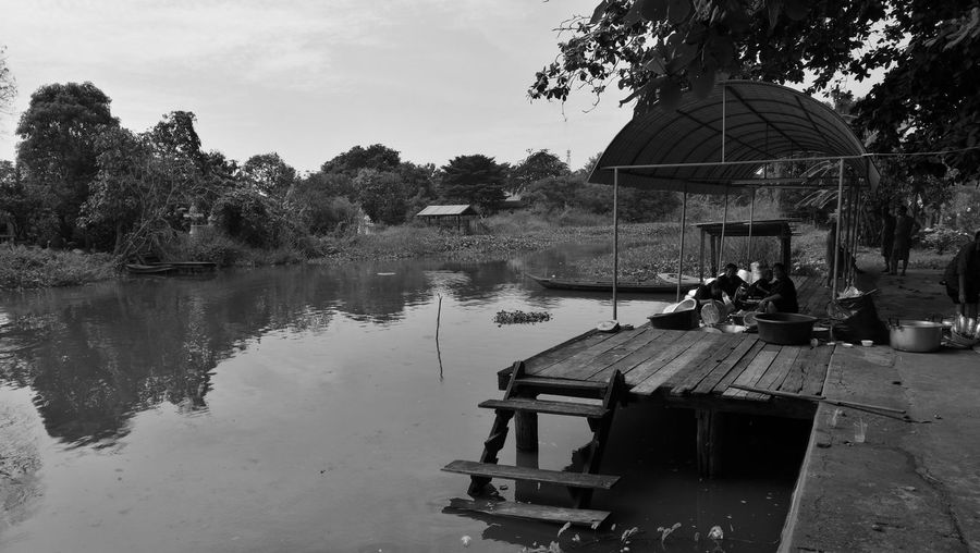 Water Reflection Lake Nature Sky Outdoors Tree Day Occupation Watermill Lonely Dock Thailand Thai Culture Life Canal No App Huawei P9 Plus Monochrome
