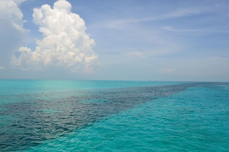 De camino a Isla Mujeres Mexico Sea Cloud - Sky Blue Nature Beauty In Nature Horizon Over Water Water Outdoors No People Landscape Beach Best EyeEm Shot Beach Photography Beach View Breathing Space