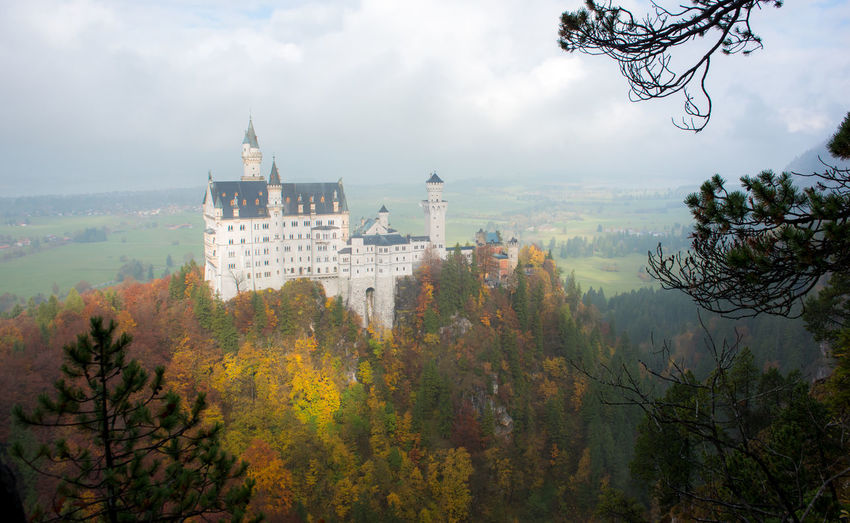 Neuschwanstein Castle with Autumn colors, Fussen, German Tree Plant Architecture Autumn Built Structure Building Exterior Nature Change Sky Building Day History No People The Past Travel Destinations Cloud - Sky Fog Beauty In Nature Outdoors