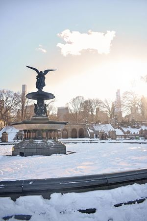 Silhouette Snow Winter Winter 2018 NYC Photography Central Park Central Park - NYC Bethesda Terrace Bethesda Fountain Bethesda Terrace, Central Park, NYC Scultpure Statue Angel Snow Winter Cold Temperature Statue Human Representation Weather Sculpture Nature Beauty In Nature Frozen No People Outdoors Sky Day
