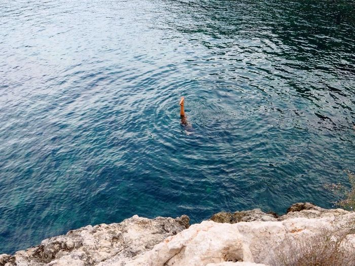 Blue Water Ibiza Sea Leg Rock - Object Vacations Nature Non-urban Scene Day Outdoors Beauty In Nature Cliff Blue Sea