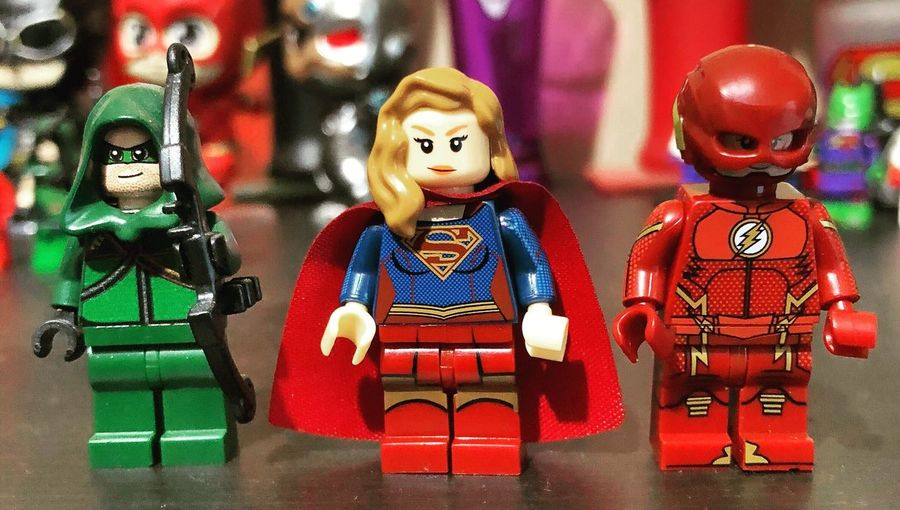 Arrowverse trinity Dccomics The Flash Green Arrow Arrowverse Supergirl Lego Minifigures Toy Representation Human Representation Art And Craft Figurine  Red Creativity