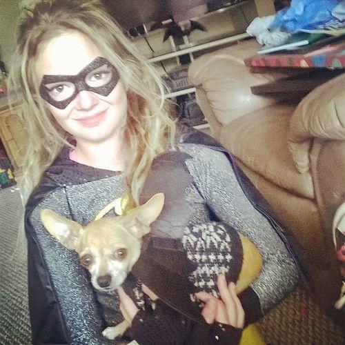 Batgirl and bat dog! Halloween Chuahuahua Batgirl Mud Trunkortreat